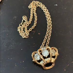 Vintage gold crown w/jewels chain link necklace
